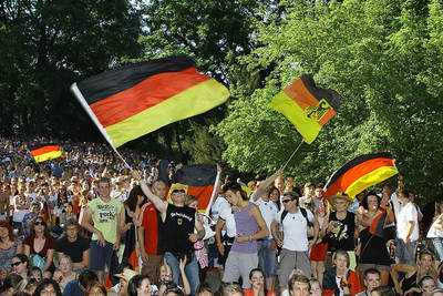 I'm in the top right corner of the picture.  This was after Germany's victory against England in the World Cup 2010. (Picture care of Stuttgarter Zeitung)