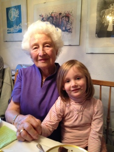 Eva on her 90th birthday with our daughter.