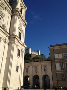 The schloss in Salzburg, you can hike or ride your way to the top.