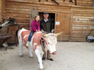 At Schwabengarten you can even ride a cow!