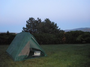 Backyard camping in Washington State.