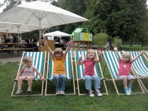 Sit and relax of go down the slide at Schlossgarten Biergarten