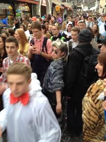 Drunken hoard of high school students in Rudesheim.