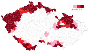 Per cent of German mother tongue speakers in the Sudetenland region of Czechoslovakia. c/o Wikipedia