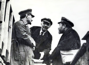 Lenin, Trotsky and Kamenev at the party conference in 1919. (c/o wikipedia.com)