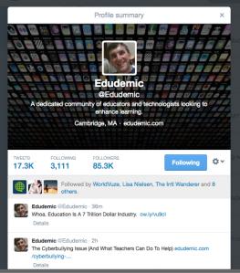 Edudemic profile on Twitter