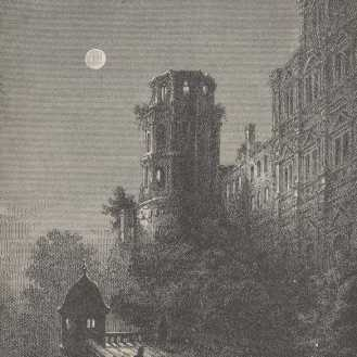 The balcony of Heidelberg's castle as pictured in A Tramp Abroad by Mark Twain found at Project Gutenberg.