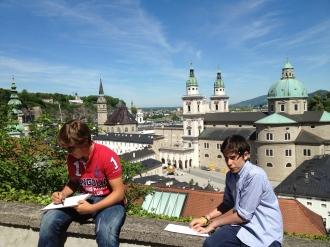 Three point perspective sketching in Salzburg, Austria.
