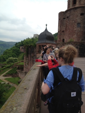 The gang on the balcony overlooking the city at Heidelberg's castle.