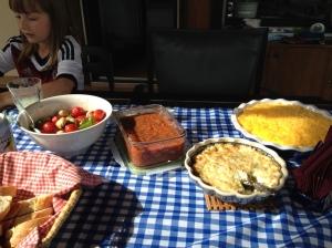 7 Layer Dip, Artichoke Dip, Salsa, Caprese salad