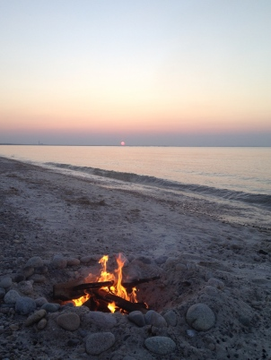 Campfire on Sandy Neck Beach.